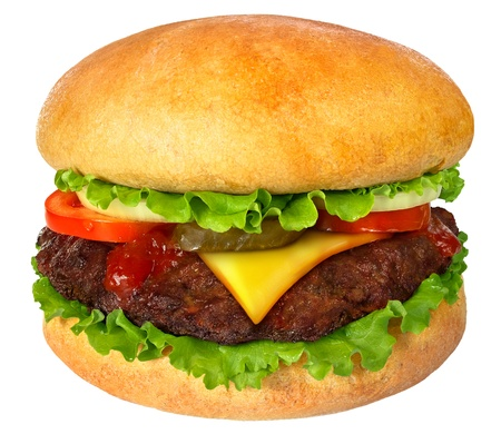 cheeseburgers: Hamburger close up. It is isolated on a white background