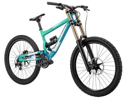 fietsketting: Fiets met schokdempers op beide wielen en schijfremmen. Het is geïsoleerd.