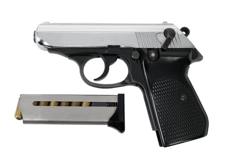 automatic pistol: Automatic pistol on a white background