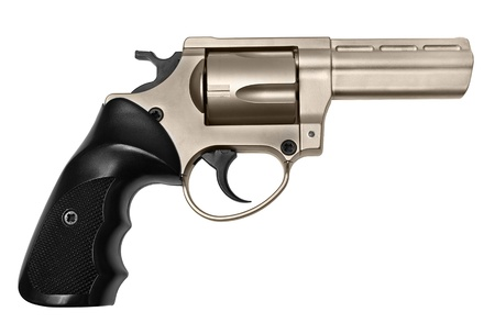 Side view of revolver isolated on white photo