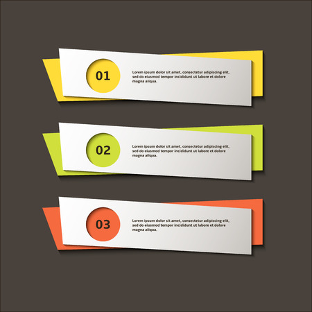 Colorful vector banners on grey background