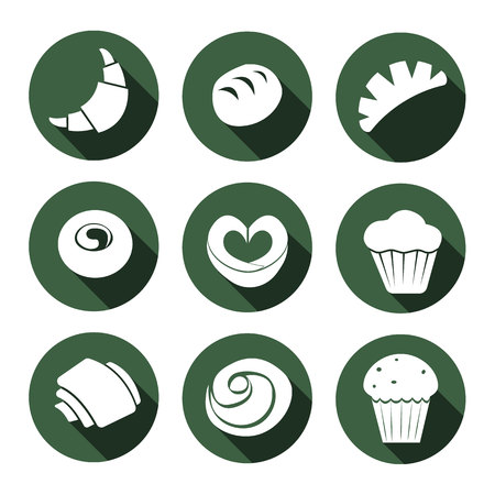 set of bakeries icons. scones, muffins, buns, tarts, bagels. icons with long shadow on the green background.