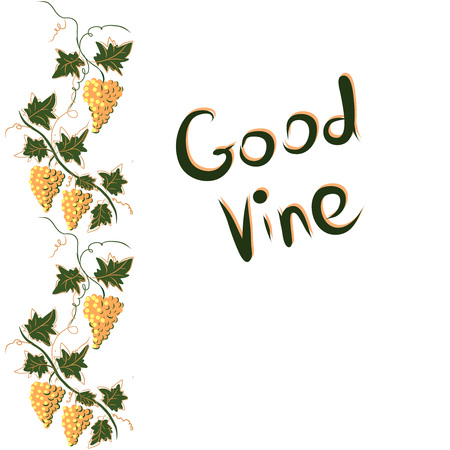 Stylized graphic image of a vine with grapes. Decorative square frame with branch of grapes, grape leaves. Good vine. Vector image.