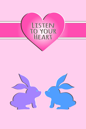 Listen to your heart. Card with bunny and heart. Illustration
