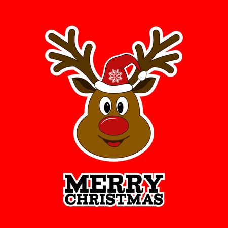 rudolph: Rudolph reindeer. Merry Christmas. Santa Clauss reindeer. Sticker.