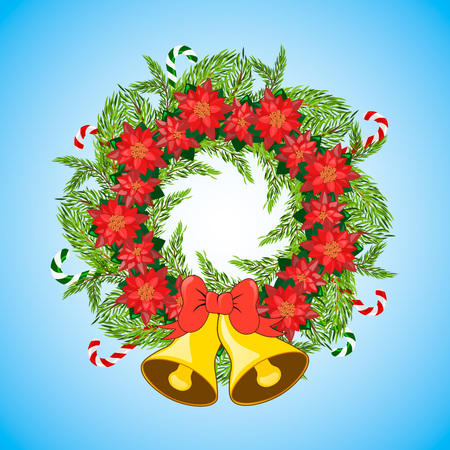 jingle bells: Christmas wreath with poinsettia, jingle bells and Candy Canes. Merry Christmas. Christmas decoration.