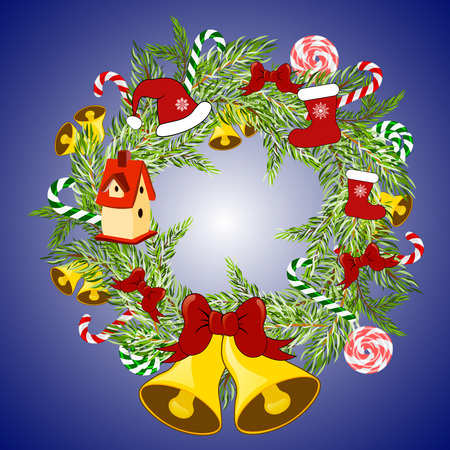 Christmas wreath with old toys. Merry Christmas. Christmas decoration with jingle bells, stocking, candy canes, nesting box, santa hat.