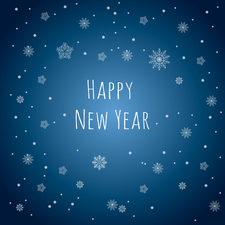 greeting card background: Happy New Year. Snowflakes background. Greeting card.