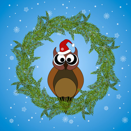dcor: Owl in winter with santa hat. A wreath of fir branches. Greeting card. Snowflakes background.