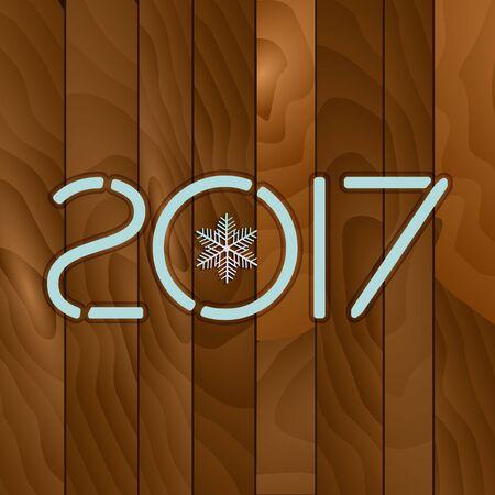 2017. Drewno tekstury tła. Drewniana tablica z napisem 2017. Kartkę z życzeniami płatki śniegu. Tło dla motywu zimowego i świąt Bożego Narodzenia. Ilustracji wektorowych.