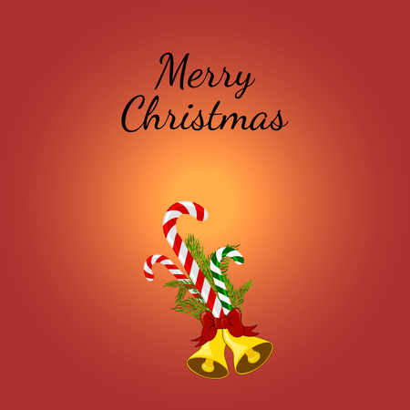 jingle bells: Christmas Greeting Card with candy canes. illustration. Lollipop with Christmas tree branches and jingle bells.
