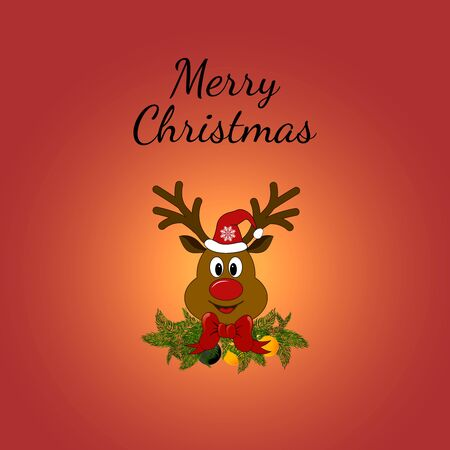 Christmas Greeting Card with Rudolph. illustration. Rudolph the Red-Nosed Reindeer with fire branches and red bows.