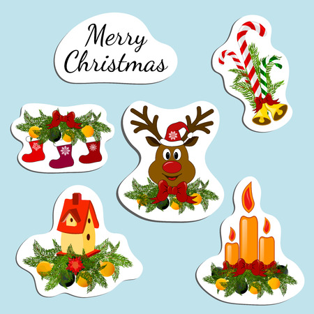 nesting box: Stickers with inscription Merry christmas and cadles, jingle bells, deer, candy cane, nesting box, christmas socks. Illustration