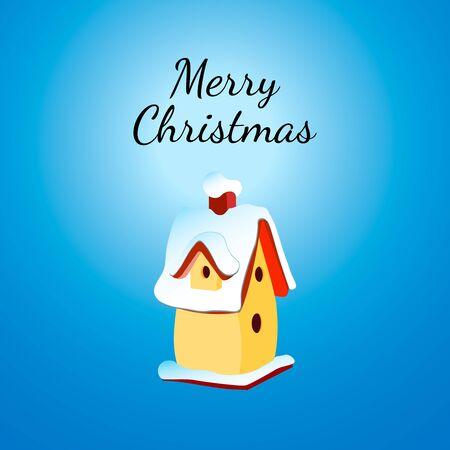 nesting: Christmas Greeting Card with nesting box. illustration. Birdhouse with snow. Illustration