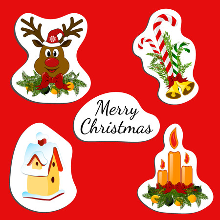 jingle bells: Christmas stickers. Sticker with inscroption Merry christmas and cadles, jingle bells, deer, nesting box. Illustration