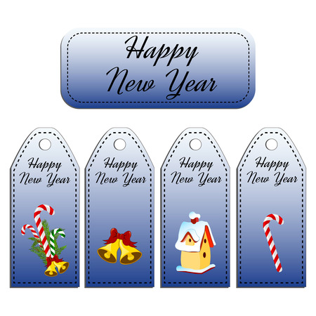 jingle bells: Set of four  holiday gift tags. Stickers. Card with jingle bells, nesting-box, candy cane, lollipop.