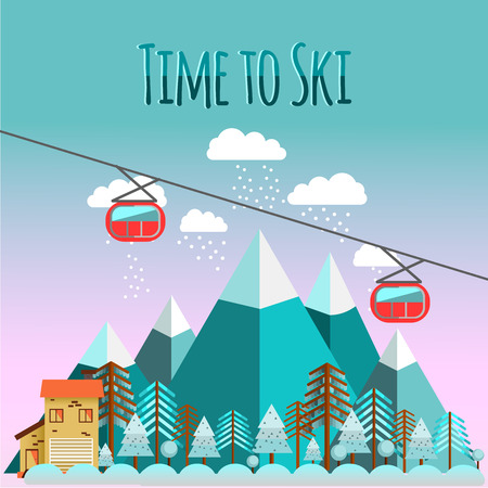 chairlift: Ski landscape and chalet in mountains with snow and trees in flat style. Time to ski.