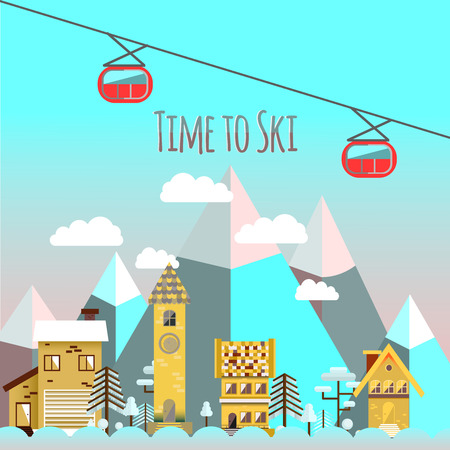 chairlift: Flat design vector nature winter landscape illustration with houses, mountain, chairlift. Ski resort.