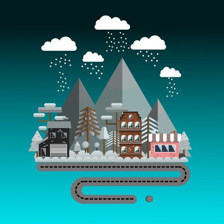 chairlift: Winter landscape in night, flat style. Ski resort in vector.