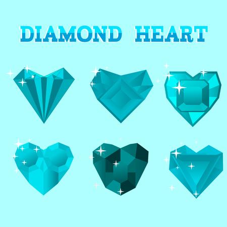 coeur diamant: Set of diamond heart, vector illustration. Symbols for Valentines Day.