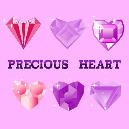 crystal heart: Beautiful precious decorative crystal heart, colorful icons set. Precious Heart, vector illustration.