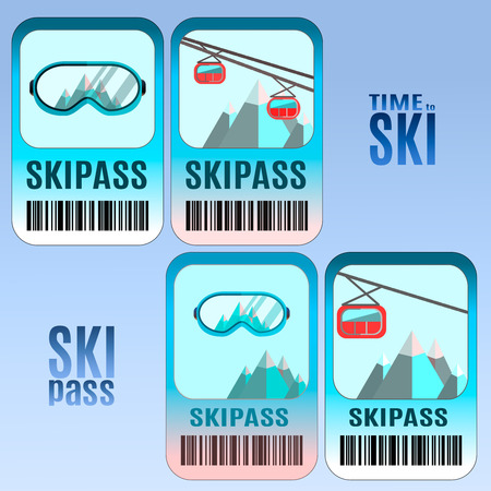 mountain pass: Set of vector ski pass template design. Good for extreme sport club. Vector colorful design.