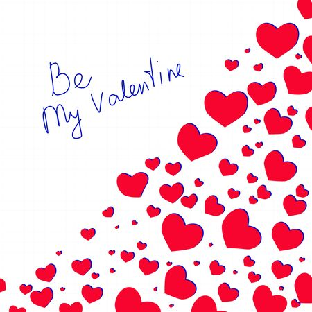Lettering Be My Valentine with hearts. Happy Valentines Day design. Vector lettering on checkered paper page.