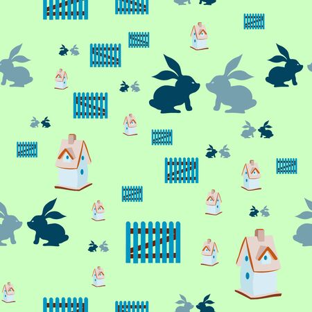 nesting box: Seamless pattern with nesting box, two rabbits, little fence. Springtime and easter.
