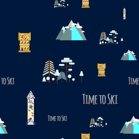 Seamless pattern with inscription  Time to ski. Flat design vector nature winter landscape illustration with houses, mountain, chairlift. Ski resort.