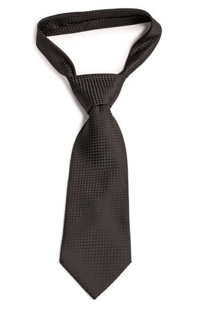 Black  chequer necktie. Isolated on white background. photo