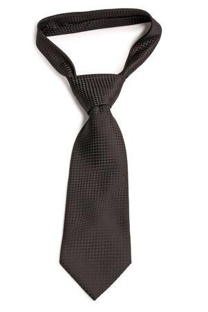 corbata negra: Negro Chequer corbata. Aislado sobre fondo blanco.