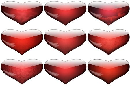 fissures: Red glass hearts splashed with patches of light and various textures inside:clouds of smoke, sky an clouds, smooth leather, rough leather, rough antique paper, deep fissures, abstract squares, micromesh. Isolated on white background.