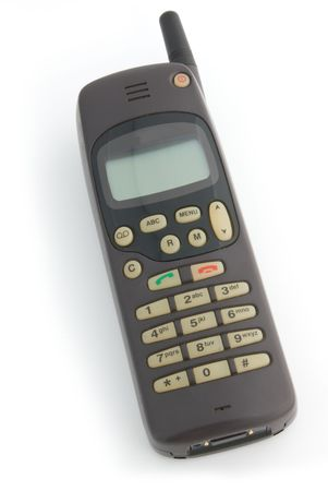Cell phone from 90`s. Isolated on white background.