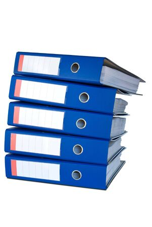 Pile of blue ring binders. Stock Photo - 5285607