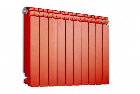 Red radiator. Isolated on white background  Stock Photo