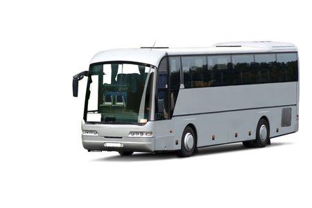 large doors: Tour bus. Isolated on white background