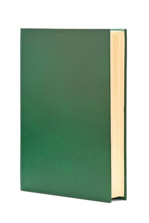 Thick book in green cover. Isolated on white background.