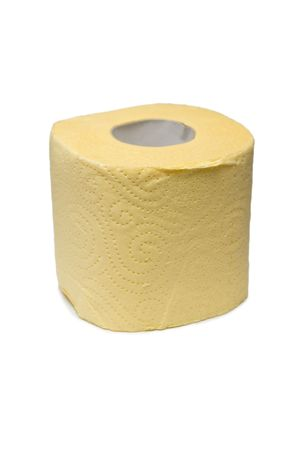 hygienics: Roll of a yellow toilet paper. Isolated on white background.