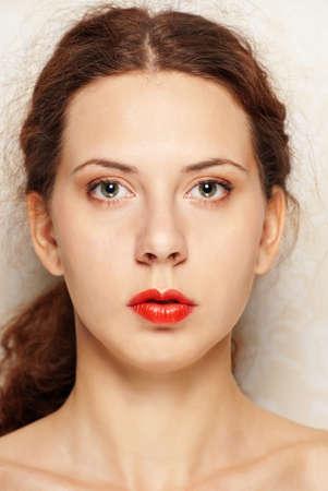 Close-up of young woman . Young beautiful Caucasian woman photo