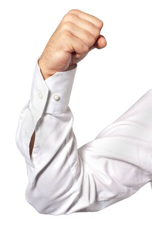 elbow white sleeve: Businessman flexing his arm muscles, isolated on white background. Stock Photo