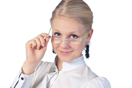 Young beautiful businesswoman wearing glasses. Isolated over white.  photo