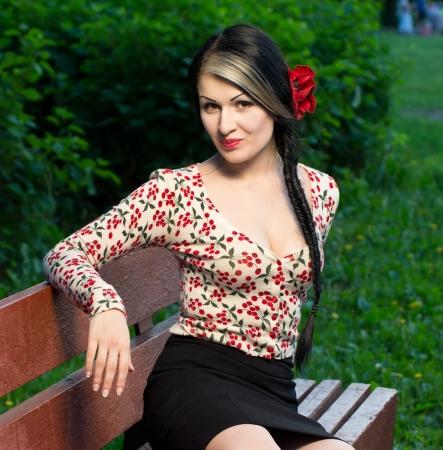 long skirt: Young brunette