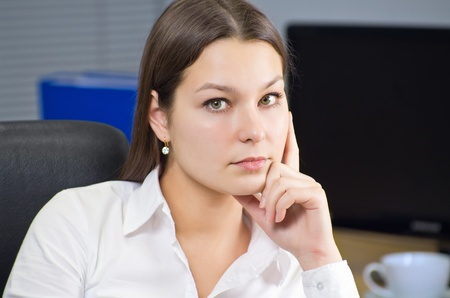 Attractive young caucasian brunette businesswoman sitting in her office Stock Photo - 12037062
