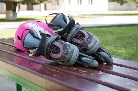 Kid`s inline rollerblade against urban background. Stock Photo - 13621173
