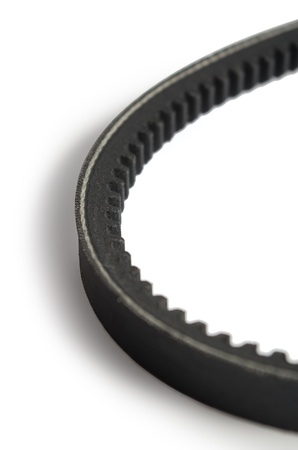 timing: Timing belt over white background. Stock Photo