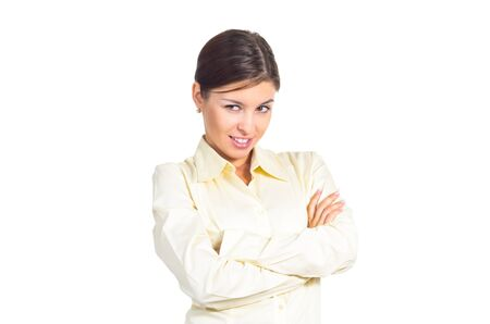 Attractive young brunette businesswoman flirting. Isolated against white background. photo