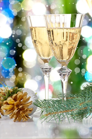 Glasses of vine  New Year party  Christmas greeting card  photo