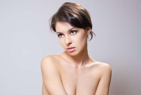 collarbone: Portrait of beautiful brunette. Stock Photo