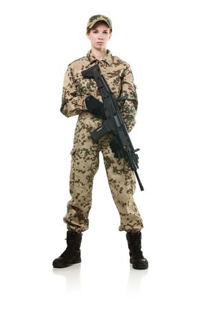 NATO soldier  Military woman isolated over white background