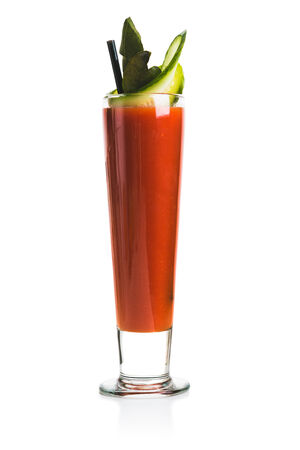 bloody mary cocktail: Bloody Mary Cocktail with cucumber. Isolated over white background. Stock Photo